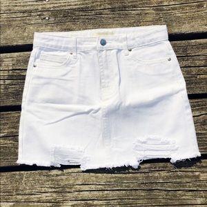 FOREVER 21 Girls Mini White Ripped Denim Skirt